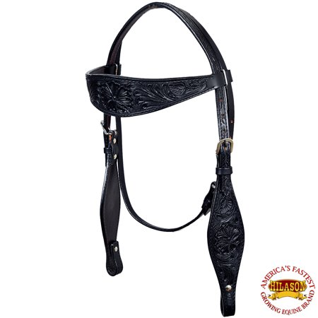 Hand Tooled Black Leather - BLACK HILASON WESTERN HAND TOOL LEATHER HORSE BRIDLE HEADSTALL HAND CARVED