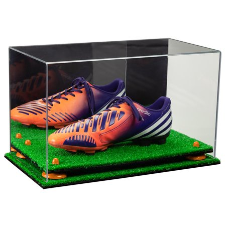 Deluxe Acrylic Large Shoe Display Case for Basketball Shoes Soccer Cleats Football Cleats with Mirror, Orange Risers and Turf Base (A013-OR)