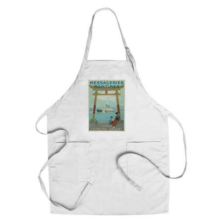 Messageries Maritimes - Japon - Extreme - Orient Vintage Poster (artist: Hook) France c. 1920 (Cotton/Polyester Chef's Apron) - Orient Chef