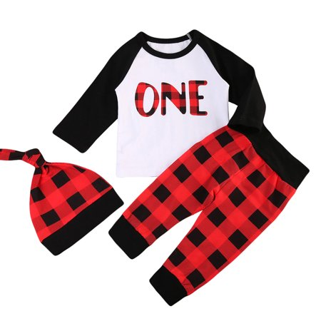 Buffalo Girl - Babys 1st Lumberjack Birthday Outfits Long Sleeve Wild One T-shirt With Buffalo Plaid Pant And Hat 18-24 Months