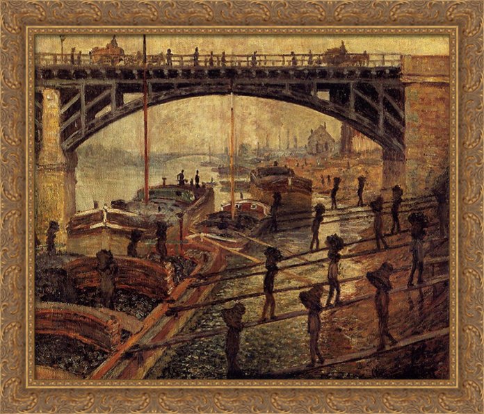 Coal Dockers 32x28 Large Gold Ornate Wood Framed Canvas Art by Claude Monet by FrameToWall