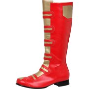 Men's 1 Inch Flat Heel Knee High Superhero Boots with Round Closed Toe Red