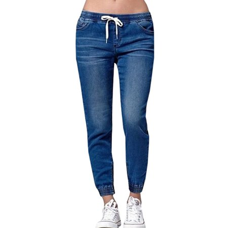 Low Waist Elastic Women Casual Jeans Jogger Pencil Pants Long Trousers Size Small