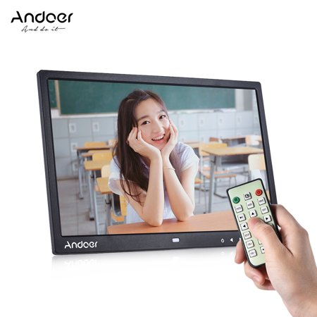 "Andoer 15"" TFT LED Digital Photo Frame Screen Desktop Album Display Image 1080P MP4 Video MP3 Audio TXT eBook Clock Calendar 1280 * 800 HDSupport Auto Mixed Play 14 Languages with Detchable Stent"