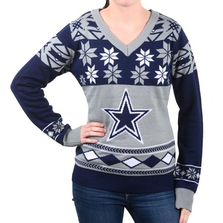 dallas cowboys womens nfl big logo ugly v neck sweater