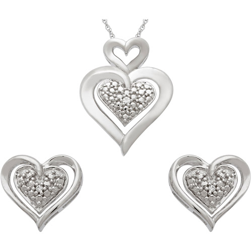 Diamond Accent Sterling Silver Pave Hear