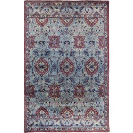 3.25' x 5.25' Berber Garden Maroon Red and Steel Blue Hand Tufted Area Throw Rug