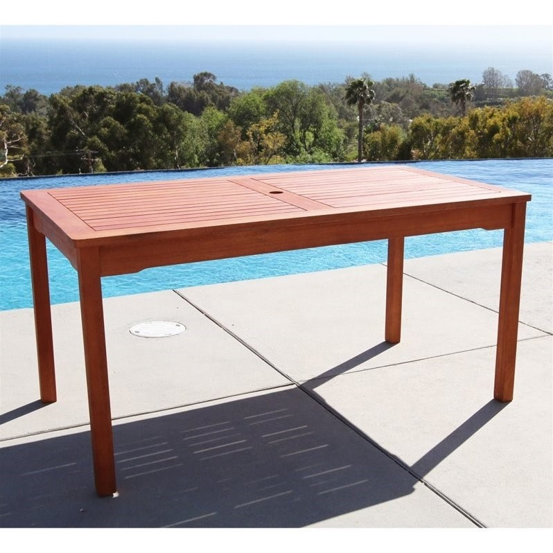 Outdoor Eucalyptus Wood Rectangular Table