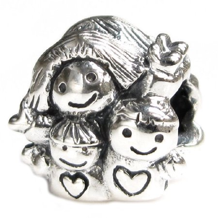 Queenberry Sterling Silver Mother Daughter Son Family European Style Bead Charm Fits - Pandora Mom Charm