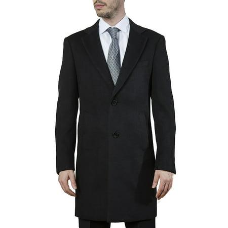 Adam Baker Caravelli by Men's 60901 Modern Fit Single Breasted Luxury Cashmere-Feel Topcoat - Black - 38R