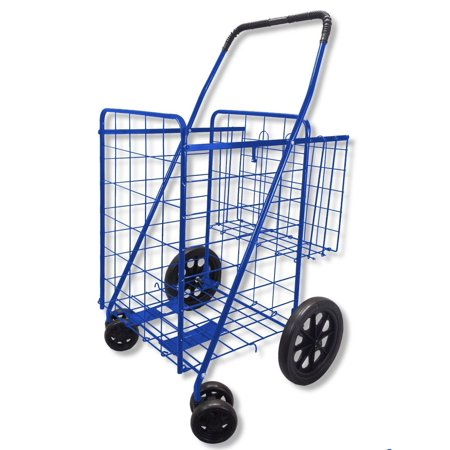 Blue With Red Liner   Folding Shopping Cart Double Basket Swivel Wheel Jumbo 360 Easy Rotation With Free Liner And Cargo Net