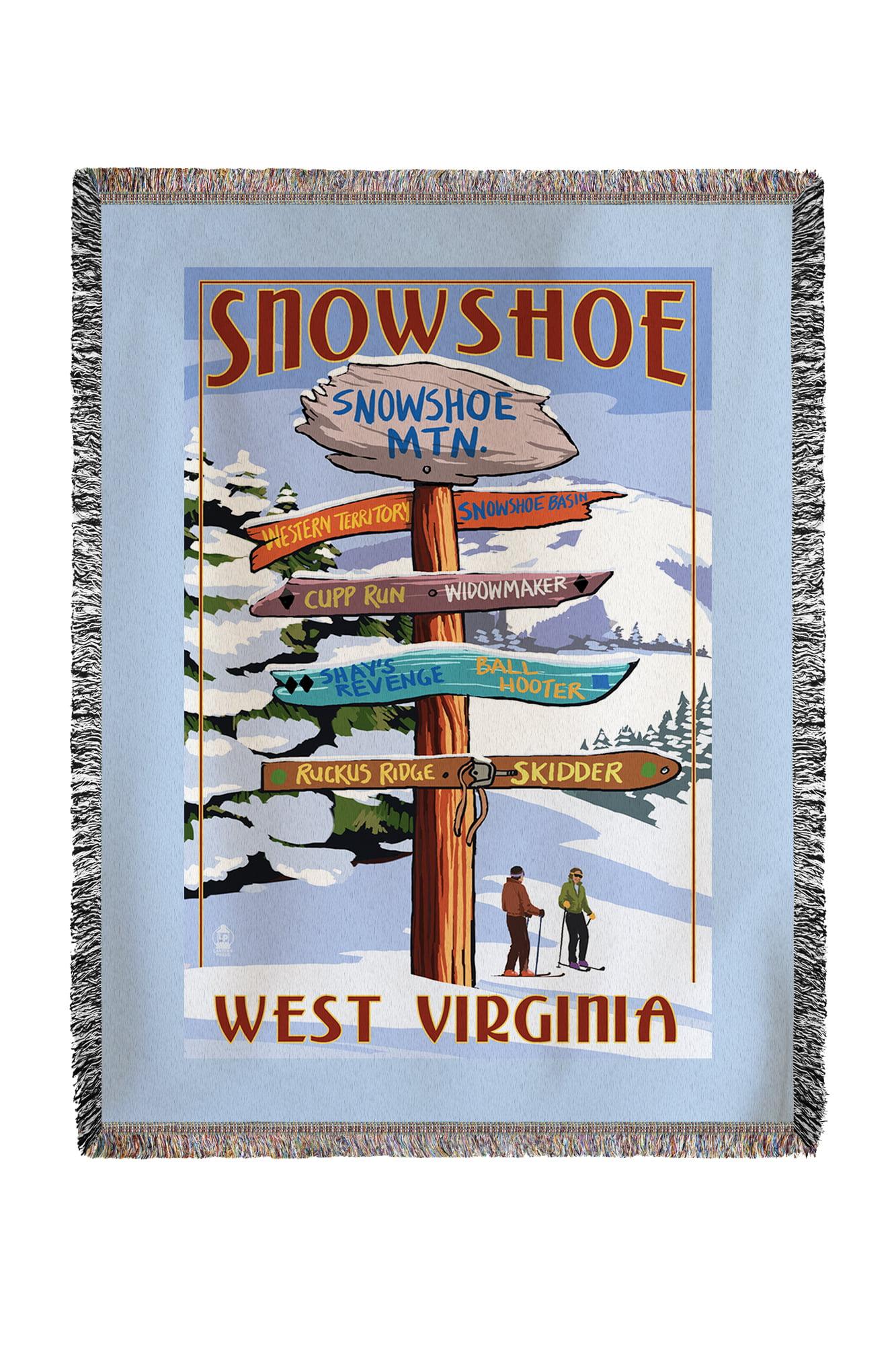 Snowshoe, West Virginia Destinations Sign Lantern Press Artwork (60x80 Woven Chenille Yarn Blanket) by Lantern Press