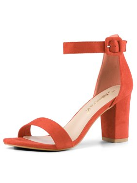 284H Woman Open Toe Chunky High Heel Ankle Strap Sandals Light Pink/US 5.5