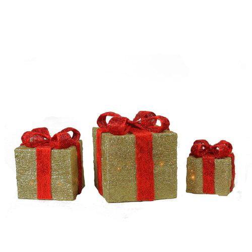 The Holiday Aisle 3 Piece Sparkling Sisal Gift Boxes Christmas Yard Art Lighted Display Se