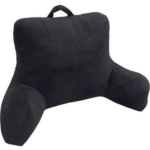 Mainstays Micro Mink Plush Backrest Pillow, Rich Black