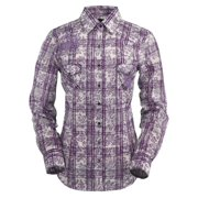 Outback Trading Shirt Womens L/S Lavender Plaid Snap Lilac 42140