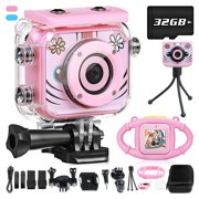 1080P Kids Camera Set Underwater Children Digital Camera Action Camera Camcorder for Boys Girls Age 3-10, FHD Video MP3 Toddler Toy Camera Mount Set with 32GB SD Card