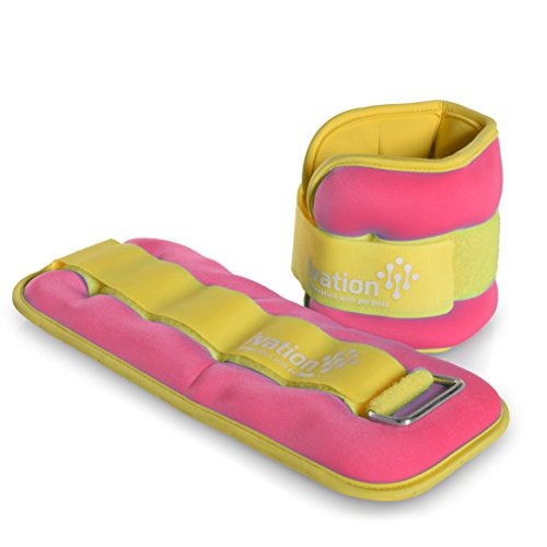 Ivation Premium High-Quality 1 Pound Ankle Weights Set (2 Pounds Total) with Adjustable Ankle & Wrist Cuffs