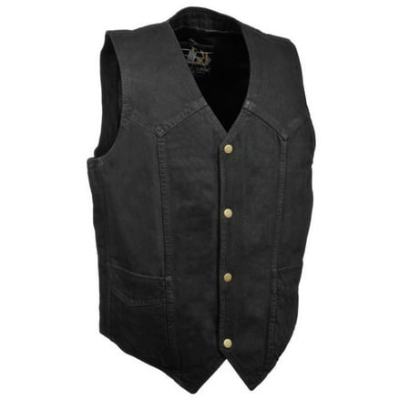 milwaukee leather mens classic snap front denim biker vest black (Authentic Black Leather Vest)