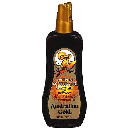 Deep Tanning Dry Oil - Tanning Oil Accelerator Spray Gel with Instant Bronzer Australian Gold Exotic Dark, 8 fl oz