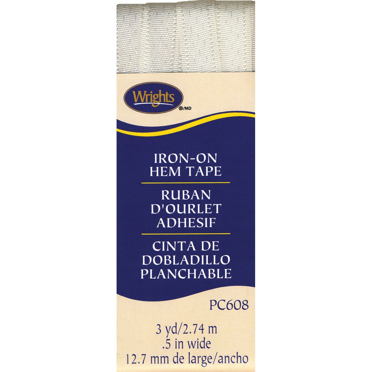 Wrights Iron-On Hem Tape, 1/2 by 3-Yard, Oyster Multi-Colored