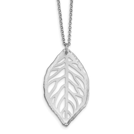 925 Sterling Silver Cut Out Leaf Chain Necklace Pendant Charm Tree Fine Jewelry For Women Gifts For Her - image 6 de 6