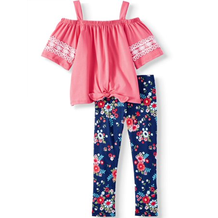 Forever Me Tie Front Cold Shoulder Tunic and Floral Legging, 2-Piece Outfit Set (Little Girls & Big