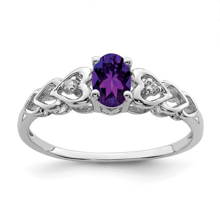 - 925 Sterling Silver Purple Amethyst Diamond Band Ring Size 5.00 Set Birthstone February Gemstone Gifts For Women For Her