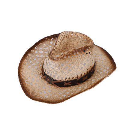 Men's & Women's Western Cowboy / Cowgirl Straw Hat Natural_Brown - Cow Girl Hats