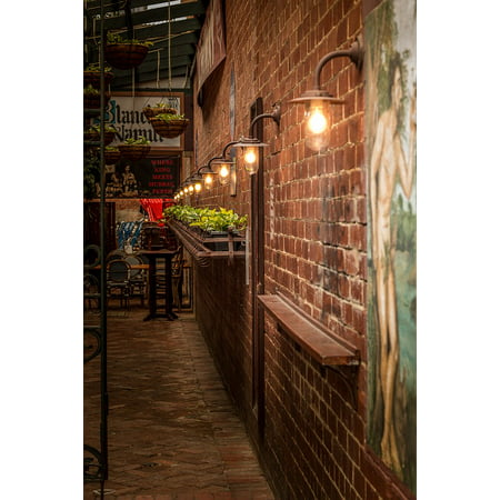 Lane Double Old Fashioned (LAMINATED POSTER Brick Wall Lights Mural Plants Old Fashioned Lane Poster Print 24 x 36 )