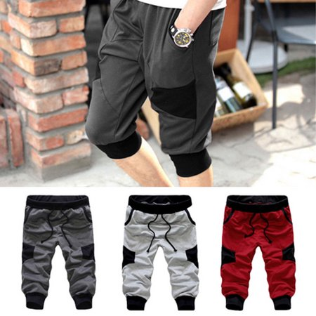 3/4 Knee Men Jogger Short Loose Casual Harem Pants Cropped Trousers Man Casual Mid Loose Regular Solid Pants (Harem Pants For Men)