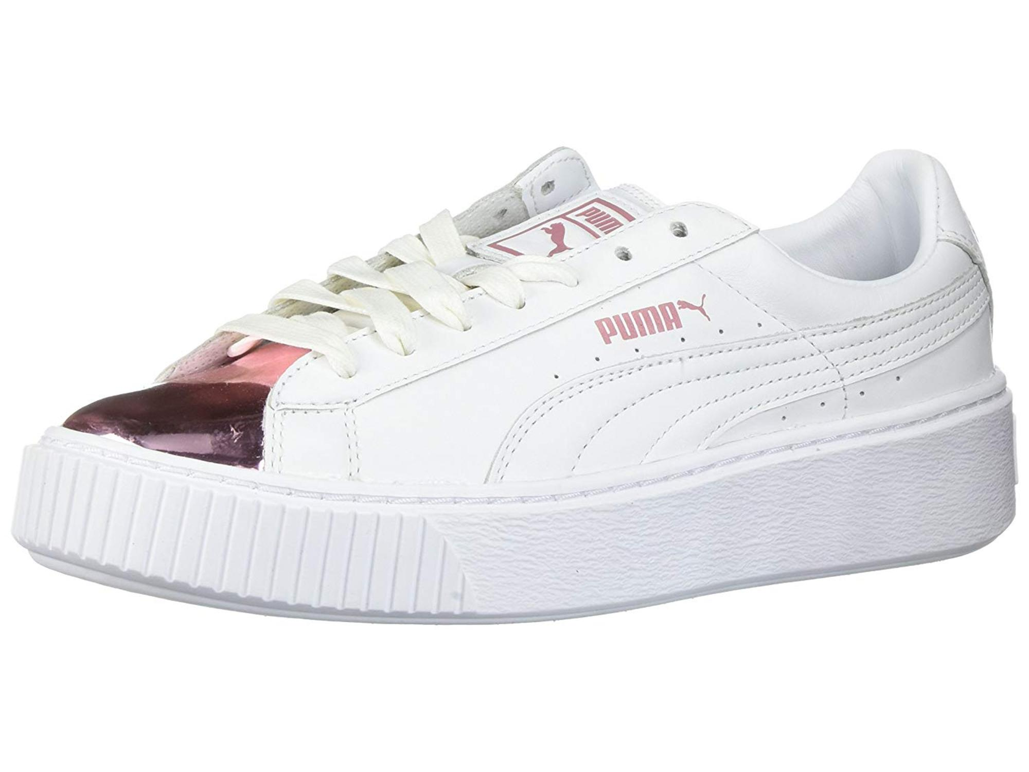 aad77410ef3e PUMA Womens basket platiorm metallic Low Top Lace Up Fashion