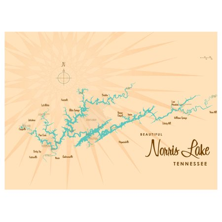 "Norris Lake Tennessee Map Vintage-Style Art Print by Lakebound (9"" x 12"")."