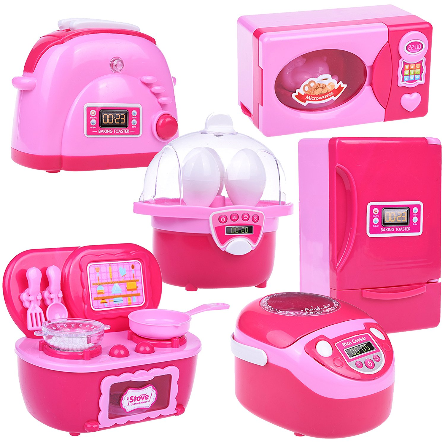 Mini Kitchen Play Set Home Appliances Refrigerator Stove Oven Microwave Toaster Steam
