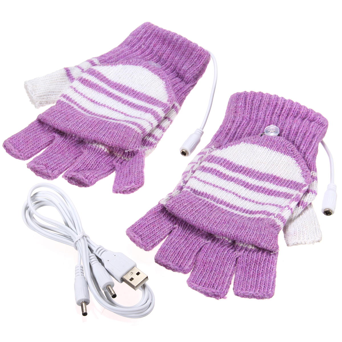 2pair Cold Weather Winter Knitted Gloves USB Heated Warmer Gloves for Women Men Best Winter Gift