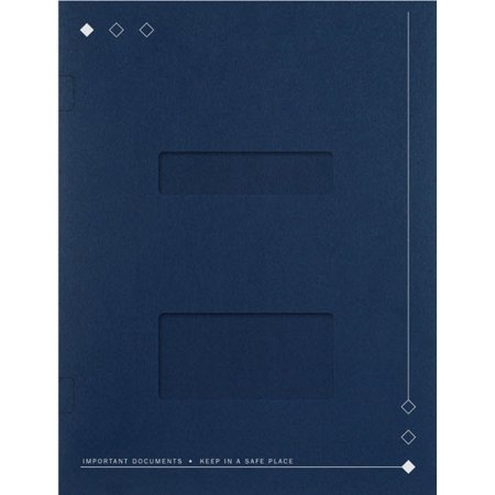 Side-Staple Folder with Windows, Navy -