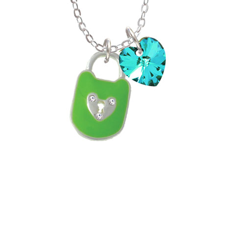 "Lime Green Enamel Lock with Clear Crystals Clear AB Crystal Heart Sophia Necklace, 18""+1"" by Delight and Co."