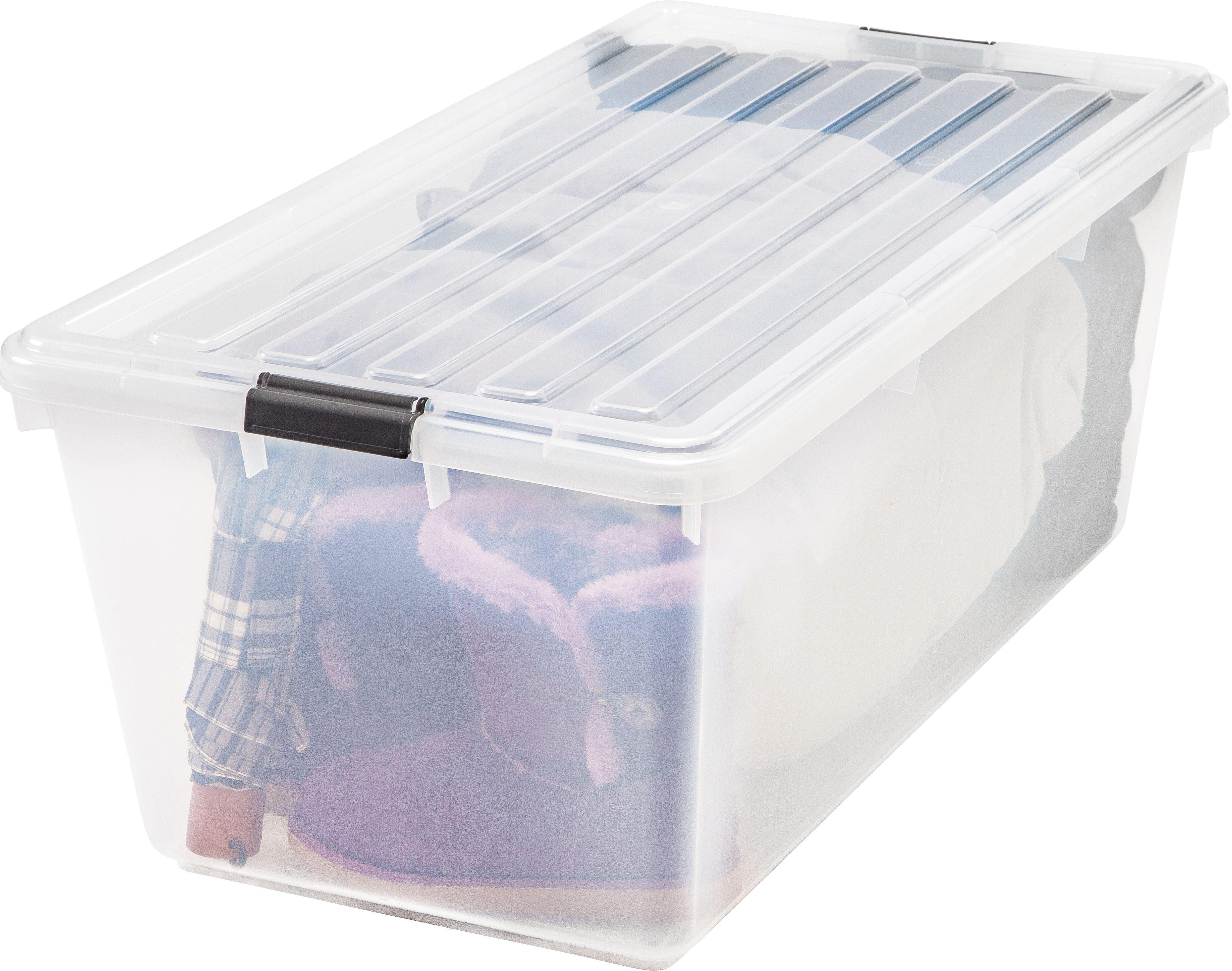 IRIS 91qt Buckle Down Plastic Storage Bin Clear