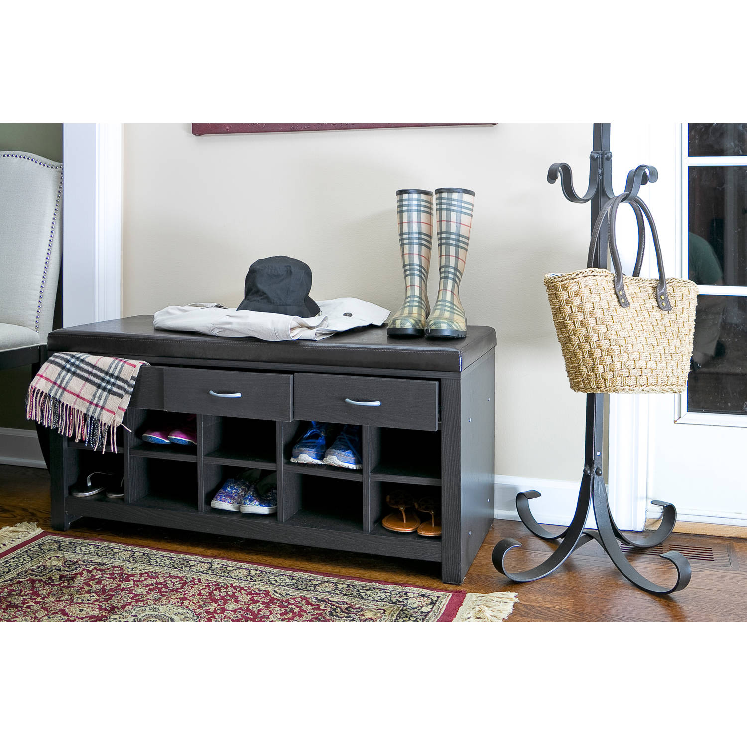 Keystone Entryway Bench with Shoe Storage, Teak - Walmart.com | title