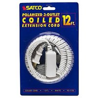 Satco 12 FT Coiled Extension Cord 13A 125V 1625W Max White