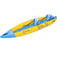 Pool Central 13' Zray Tahiti Inflatable 2-Person Kayak Set with Paddles and Foot Pump - Yellow/Blue