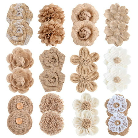 24PCS Burlap Flowers for Crafts 12Styles Natural Handmade Rustic Rose Flower for Burlap Decoration DIY Craft Bouquets Home Wedding Christmas Party Decoration