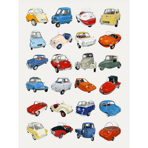 Oopsy Daisy - Microcars Canvas Wall Art 10x14, Christine Berrie