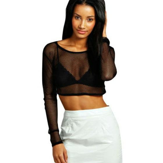 a4e5e3e932d Womens Mesh Sheer Crop Top Long Sleeve See Through Fishnet Fit Tee Shirts  Blouse Sexy Party Clubwear - Walmart.com