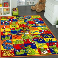 Mybecca Playtime Fun Kids Rug CROCS AND SNAKES Board Game Design Area Rug 5 Ft. X 7 Ft. (Approx.)