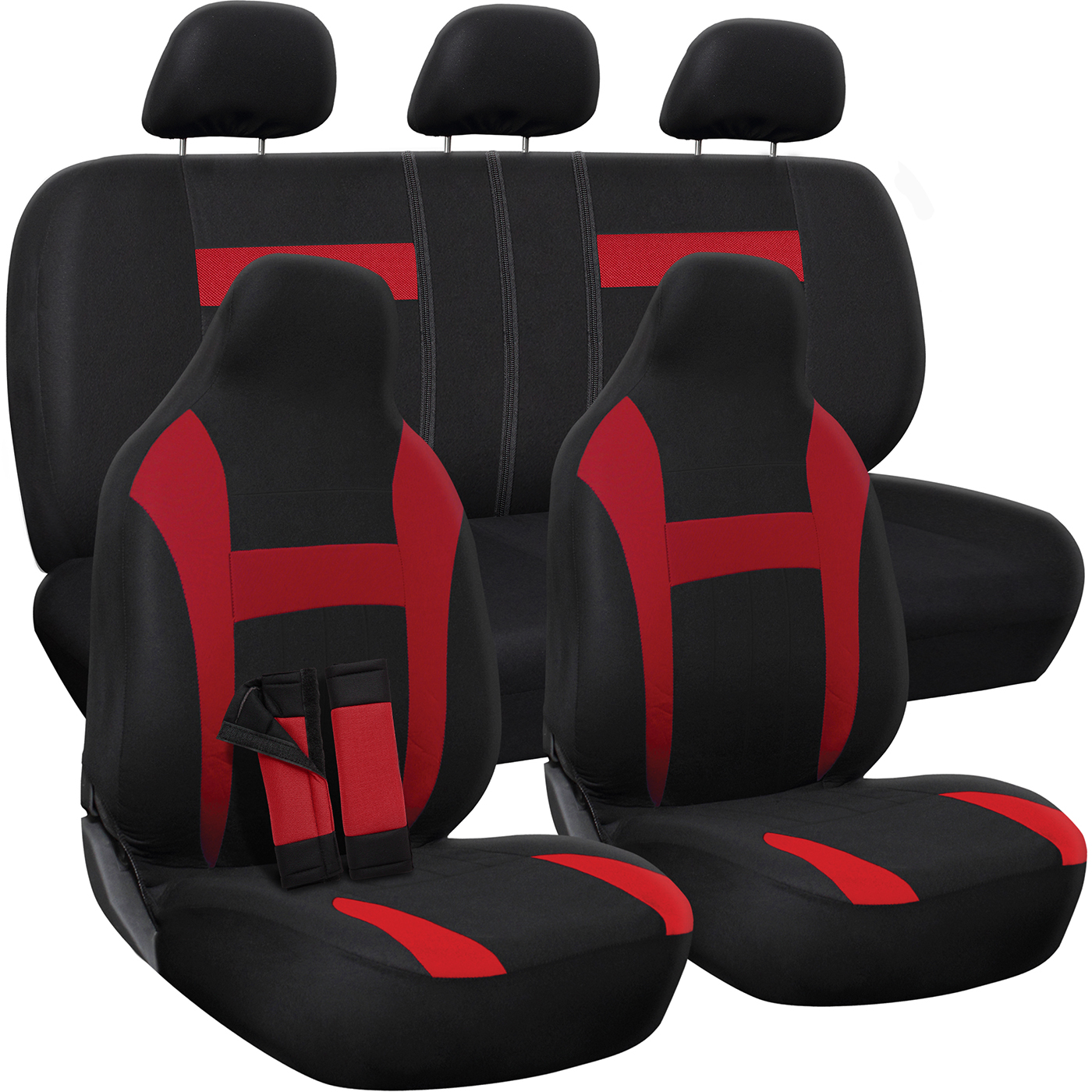 Car Seat Cover - Poly Cloth Two-Tone with Front Low Bucket and 50-50 or 60-40 Rear Split Bench - Universal Fit for Cars, Truck, SUV, Van - 10 pc Complete Set by OxGord
