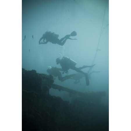Scuba Divers Wreck Diving, Southern Thailand, Andaman Sea, Indian Ocean, Southeast Asia, Asia Print Wall Art By Andrew Stewart (Indian Ocean Scuba)