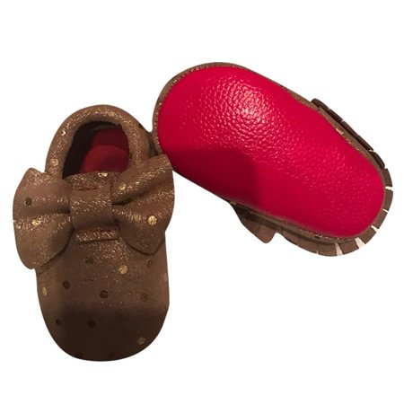 Baby Girls Gold Sequins Red Soft Sole Exotic Bow Suede Crib Shoes 3 18M