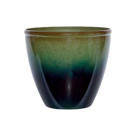 "Suncast Seneca 16"" Ombre Decorative Resin Plant Flower Planter Pot, Green/Blue"