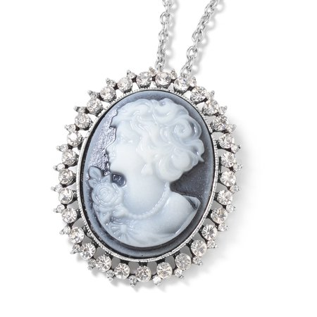 """Cameo Crystal Silvertone Chain Pendant Necklace for Women Jewelry Set Gift 24"""""""
